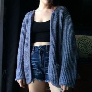 Vintage chunky open knit cardigan sweater